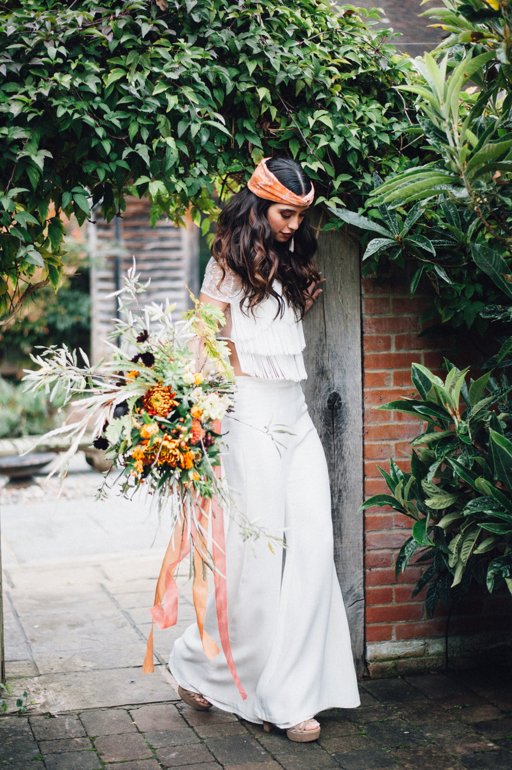 70's bohemian vibes from The Copse shoot, bouquet by WILLOWGOLD ribbons by Kate Cullen.