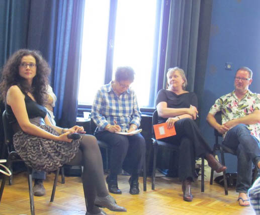 Cristina Modreanu, editor of scene.ro, moderating critics' discussion at festival of new drama in Timisoara, Romania
