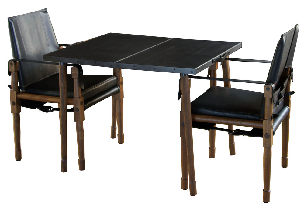 Collingswood Folding Table and Chatwin Chairs with black straps