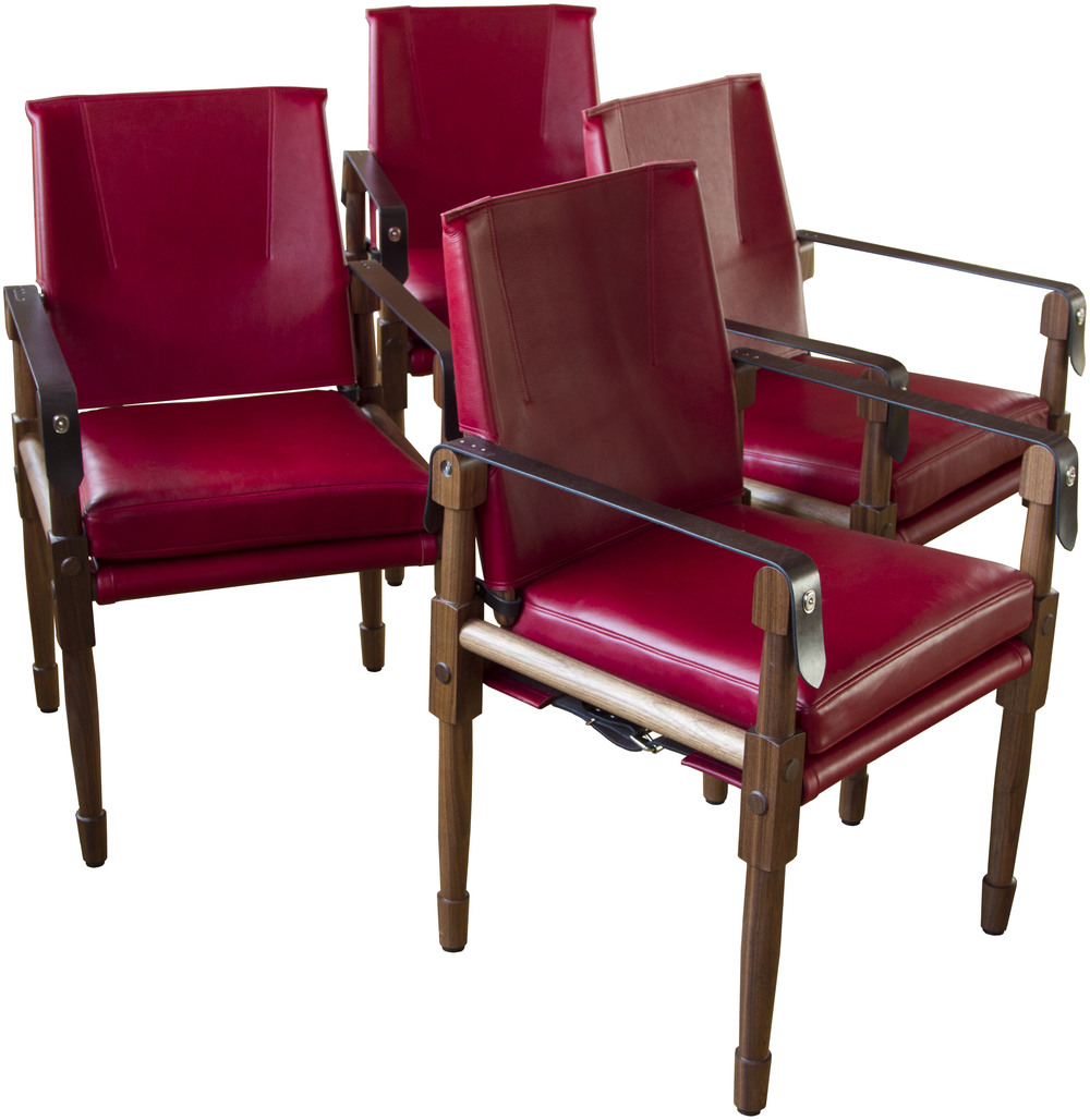 Chatwin Dining/Desk Chair  Oiled walnut, Moore & Giles, Dublin: red and dark chocolate English bridle leather straps