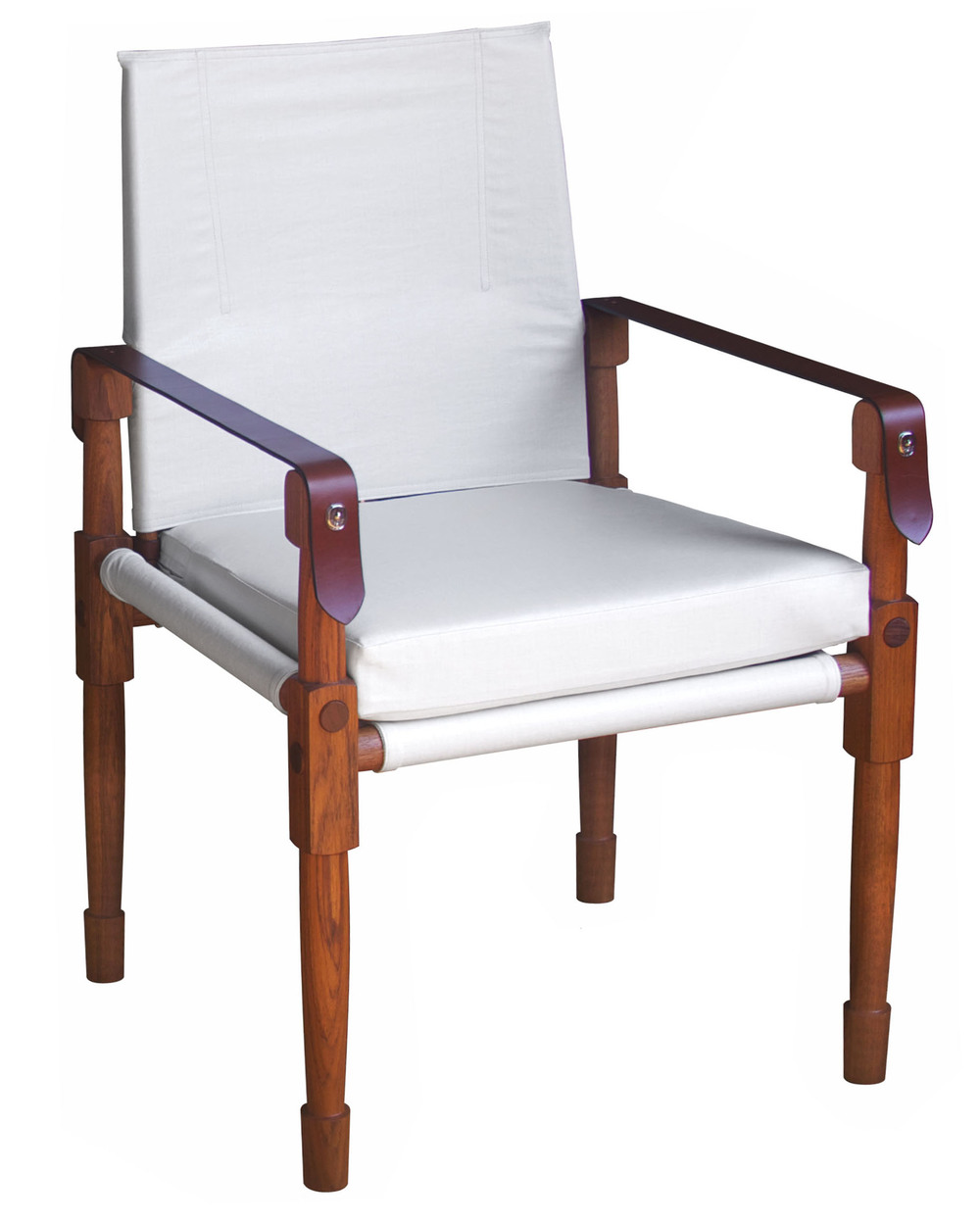Chatwin Dining/Desk Chair - Large  Oiled teak, C&C Milano coated linen (COM) and saddle English bridle leather straps