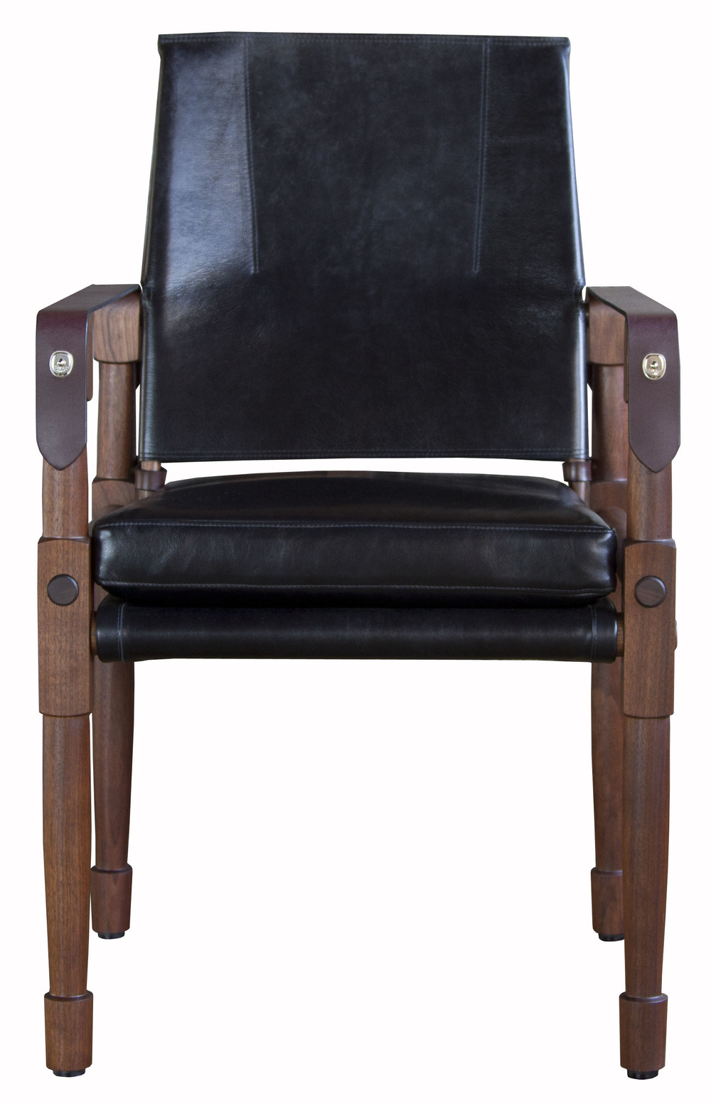 Chatwin Desk/Dining Chair  Oiled walnut with Moore & Giles Notting Hill: black and havana English bridle leather straps