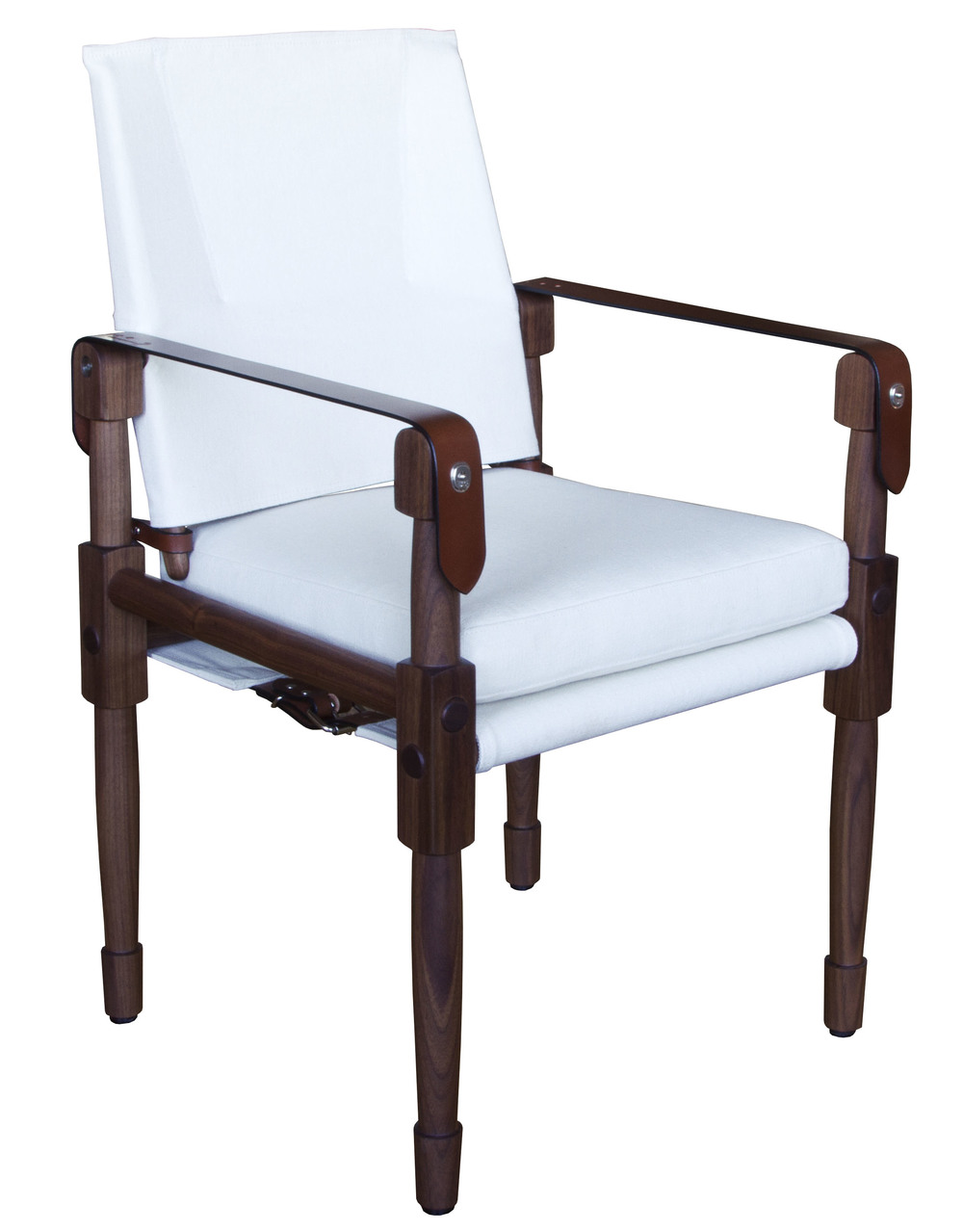 Chatwin Dining/Desk Chair  Oiled walnut with hemp canvas: natural and saddle English bridle leather strapping