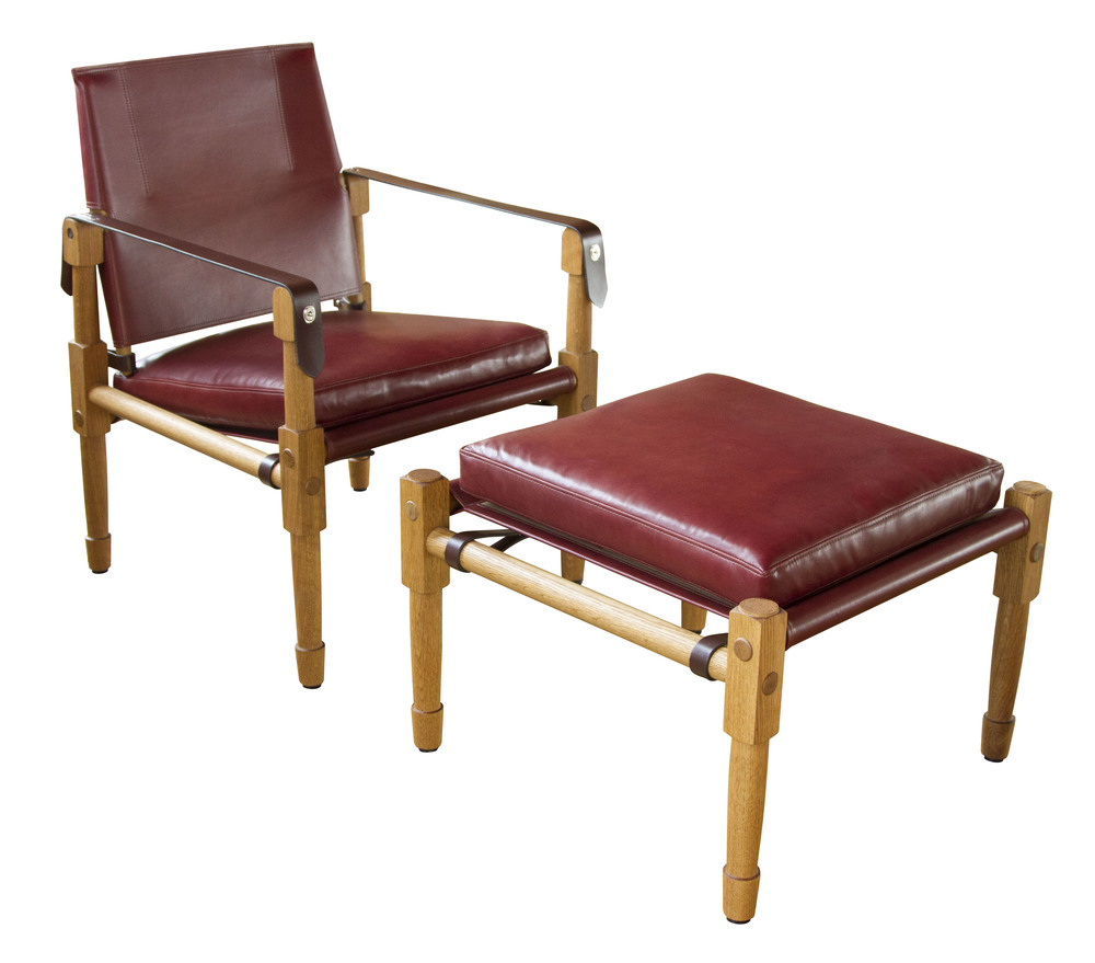 Chatwin Lounge and Ottoman  Fumed and oiled white oak, Diablo walnut upholstery and Havana leather strapping