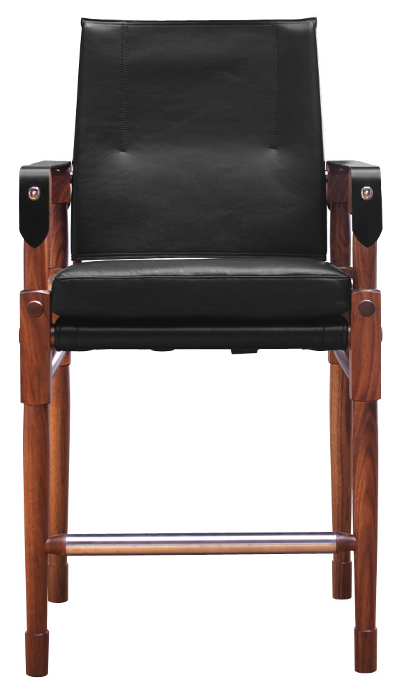 Chatwin Bar Chair  Oiled walnut with Moore & Giles, Deer Run in black with black English bridle leather straps