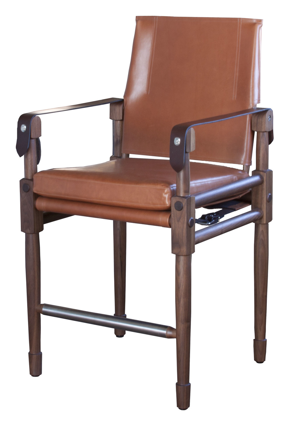 Chatwin Counter Chair  Oiled walnut, Moore & Giles, Diablo: acorn upholstery with havana English bridle leather straps