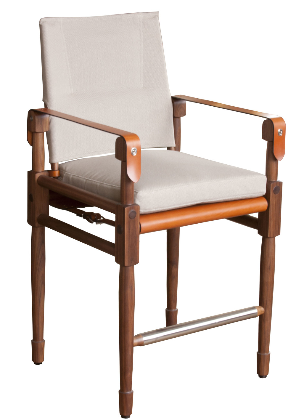 Chatwin Counter Chair  Oiled walnut, Perennials Nail Head, Pelican, Cognac English bridle leather arm-straps with cognac seat sling