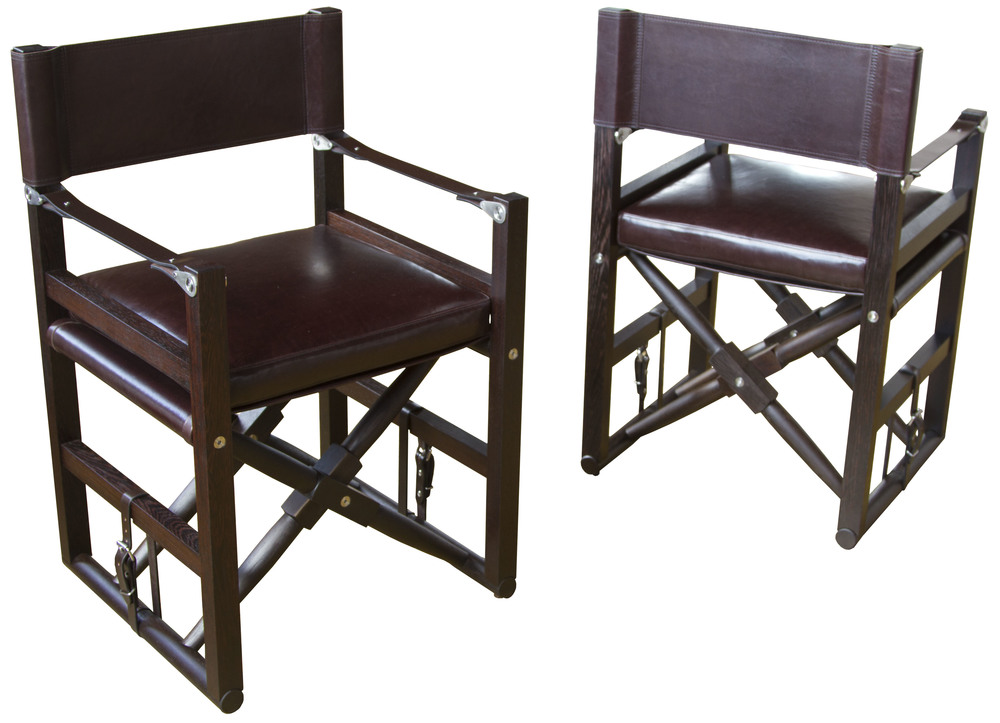 Cabourn Folding Chair  Oiled wenge with Diablo: espresso upholstery and dark chocolate English bridle leather straps