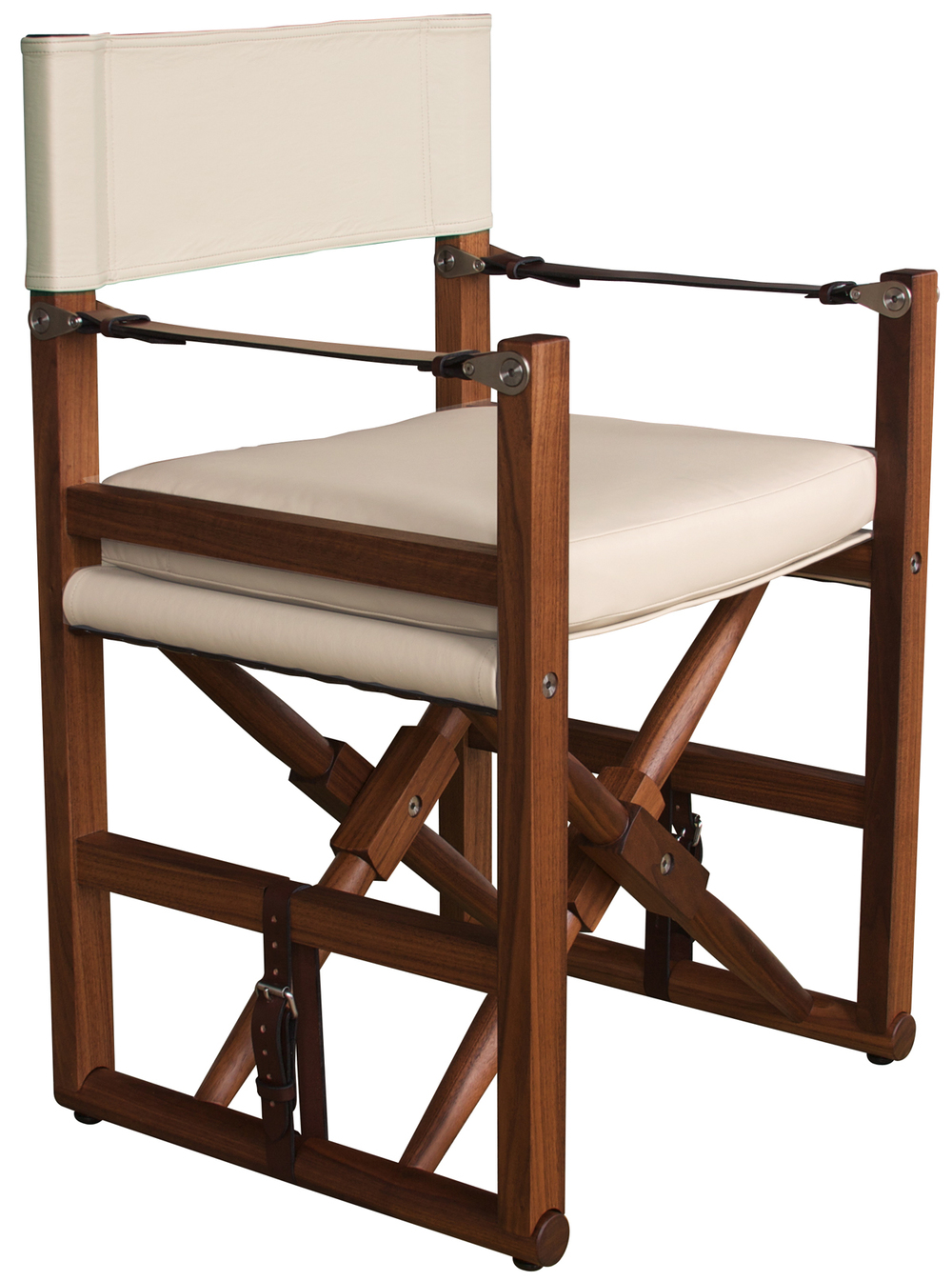 Cabourn Folding Chair  Oiled walnut with Moore & Giles Notting Hill: vellum and havana English bridle leather strapping