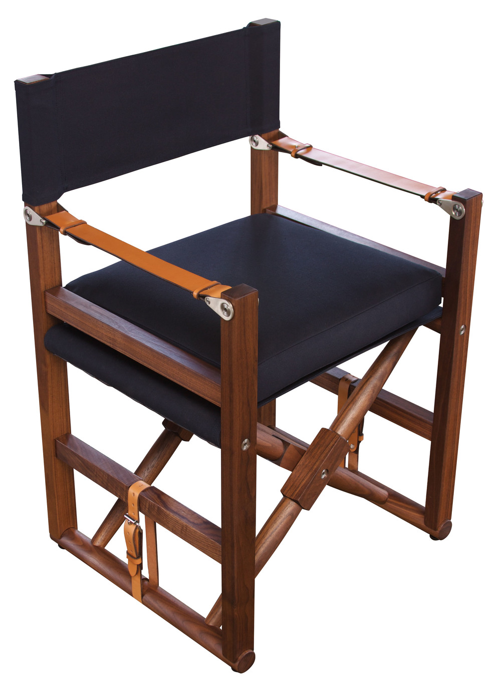 Cabourn Folding Chair  Oiled walnut, navy canvas with cognac English bridle leather straps