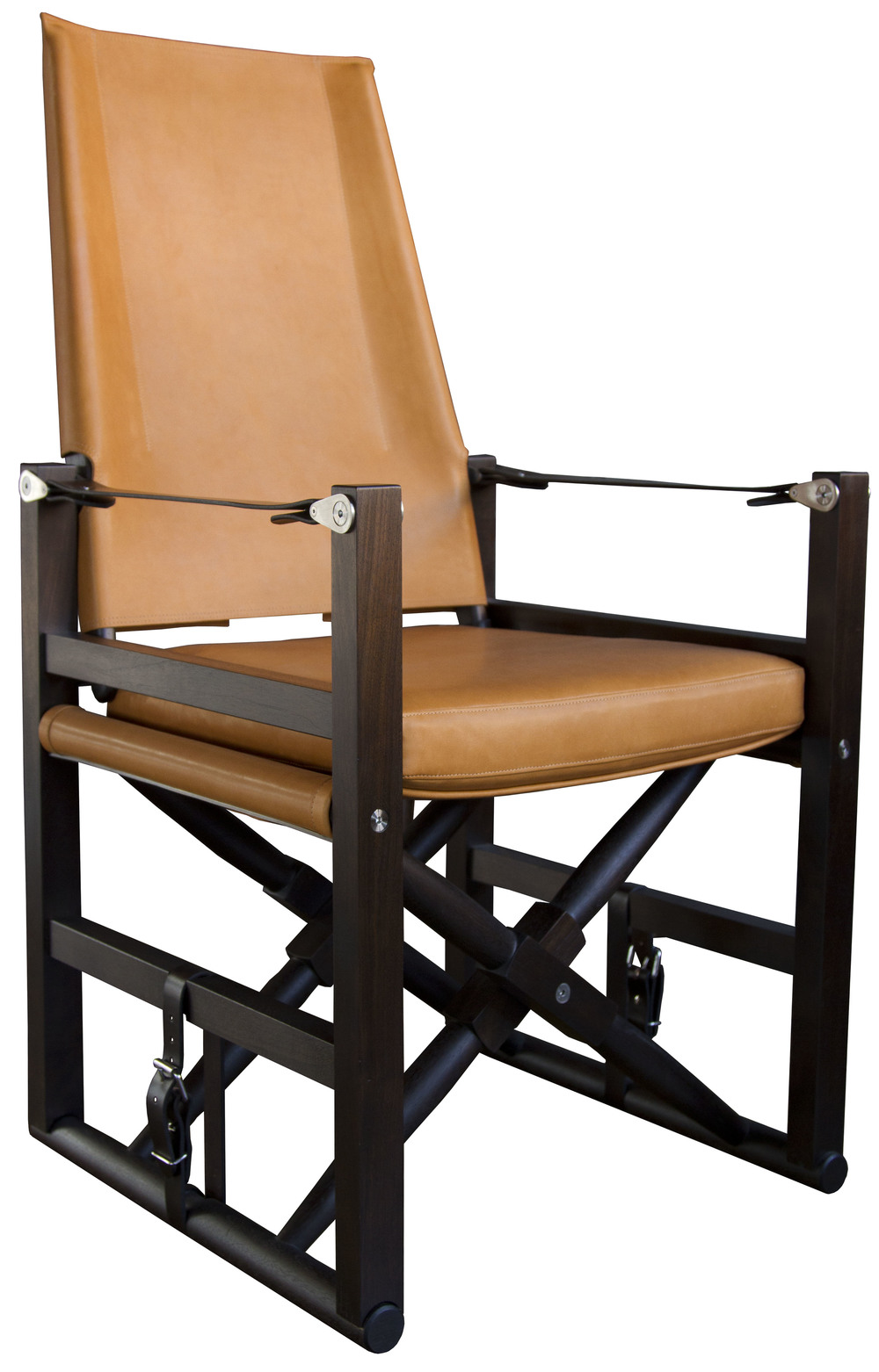 Large Cabourn Folding Chair  Macassar stained walnut with Valhalla: tan upholstery and dark chocolate English bridle leather strapping