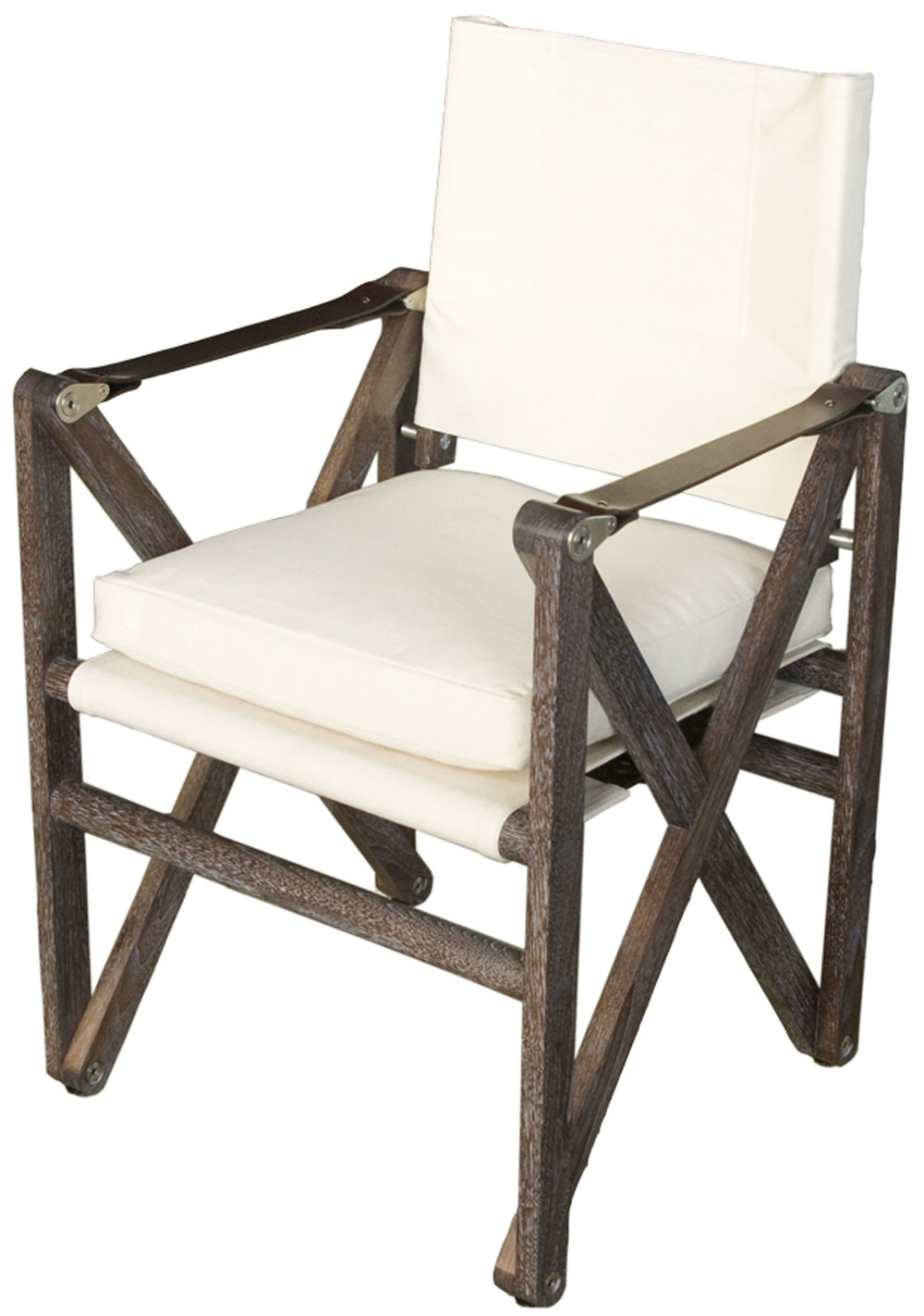 MacLaren Dining Chair  Marrakech stained and limed walnut with natural canvas and havana English bridle leather straps