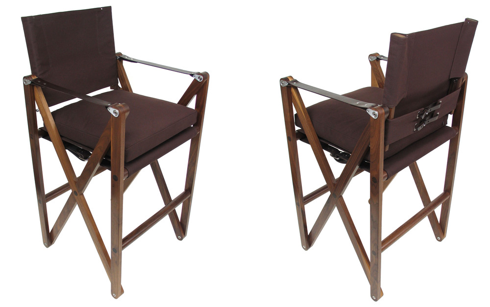 MacLaren Bar Chair - Wide  Oiled walnut with brown canvas with dark chocolate English bridle leather straps