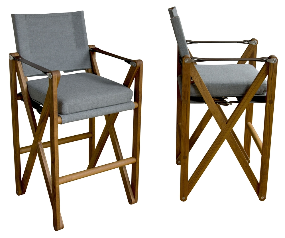 MacLaren Bar Chair  Oiled teak, Perennials Tisket Tasket, and English bridle leather in Havana
