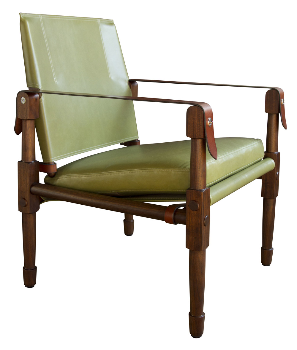 Chatwin Lounge  Marrakech stained walnut in Moore and Giles - boulevard yucca with saddle English bridle leather strapping