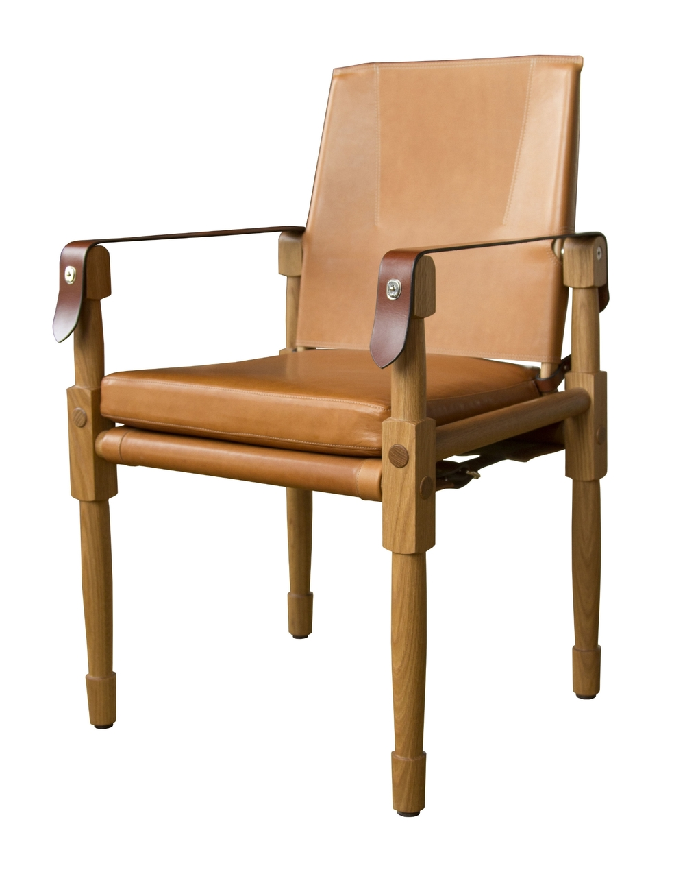 Chatwin Dining/Desk Chair  Oiled white oak with matte finish, Valhalla: nutmeg and saddle English bridle leather strapping