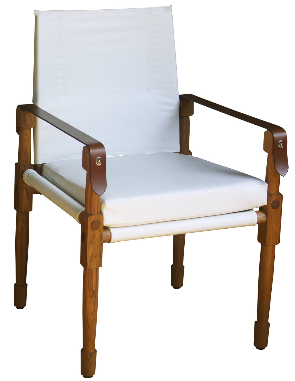 Large Chatwin Dining and Desk Chair  Oiled teak, C&C Milano coated linen (COM) and saddle English bridle leather straps   20