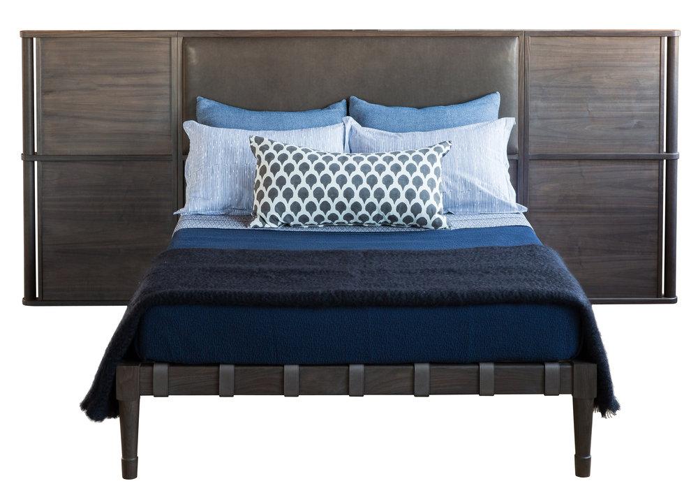 Jasper Bed with Headboard in silver grey walnut