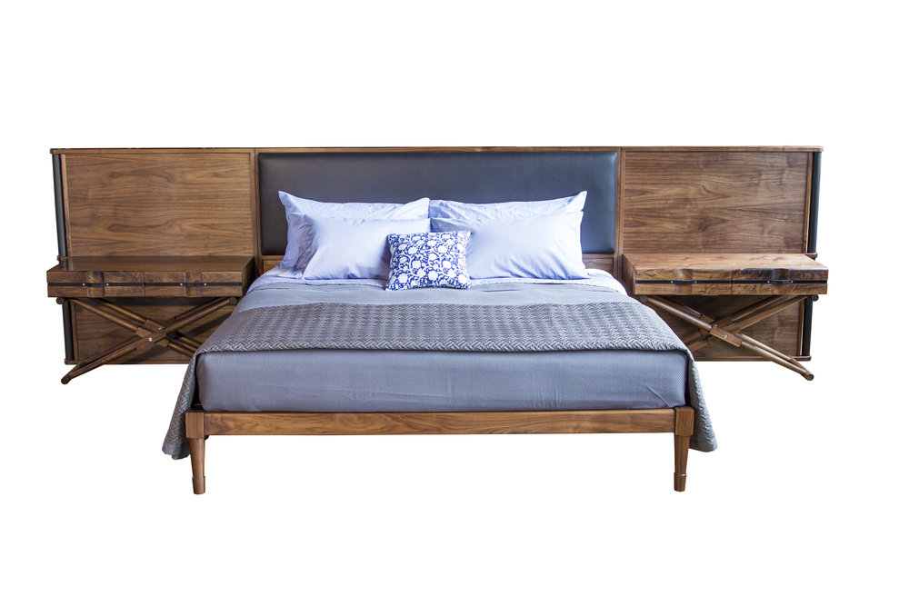 Jasper Bed with Leather Headboard