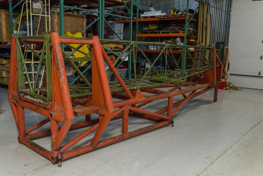 Bu 3347's fuselage frame in the jig