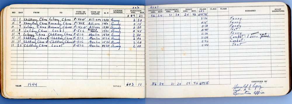 Image of Donald Lopez's actual WWII log book, courtesy of Laura Lopez.