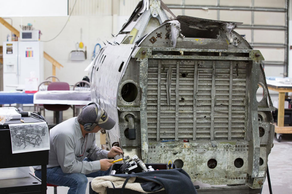 Robb begins the process of removing the fuselage skins.