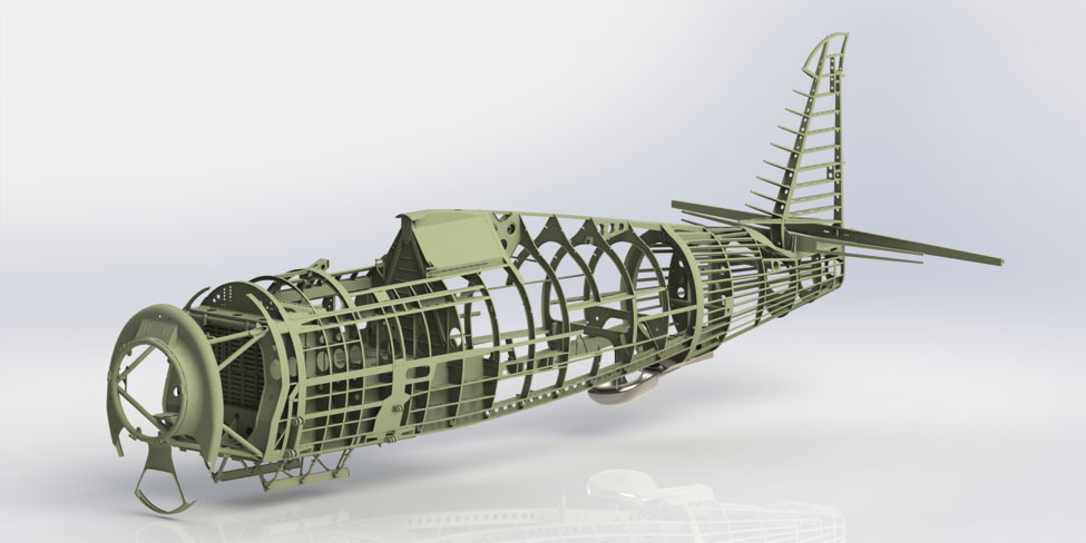 One of Rob McCune's remarkable renderings helps us to understand the structural layout of the P-47 fuselage.
