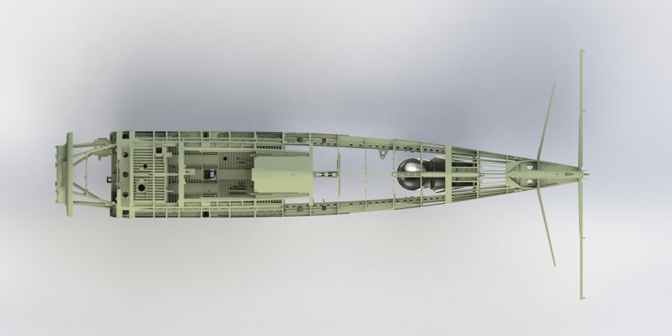 This rendering is a top view of the fuselage structure.