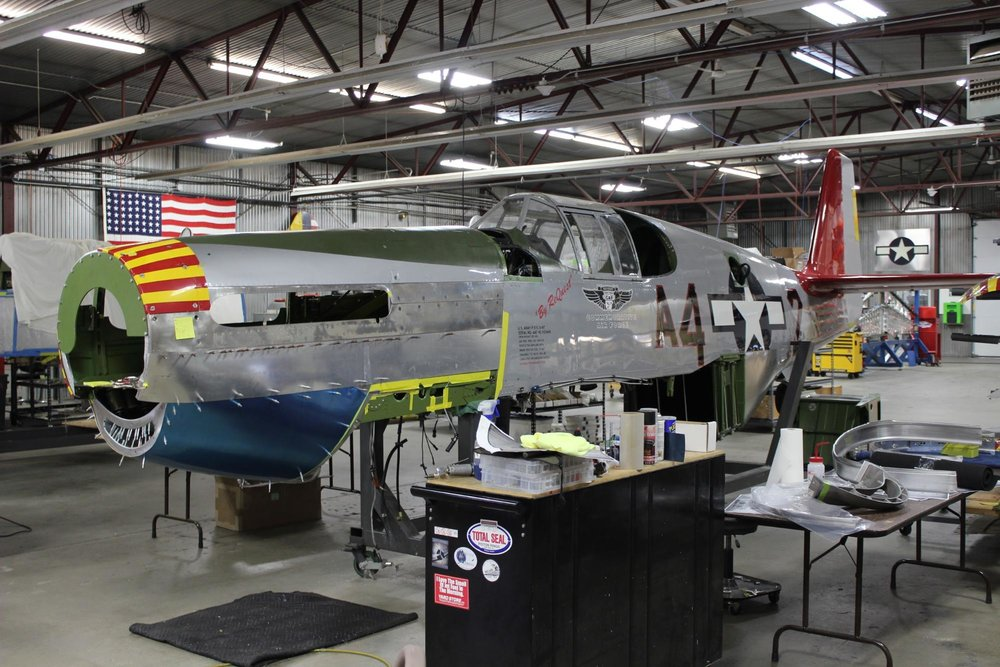 Finally a view of the Red Tail with all the cowl skins that have been completed in place.