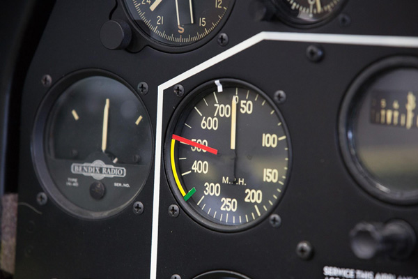 The airspeed indicator shows the red line for the never exceed velocity, the yellow arc is the cautionary range and the green line is the upper end of the normal operating range for this airplane.