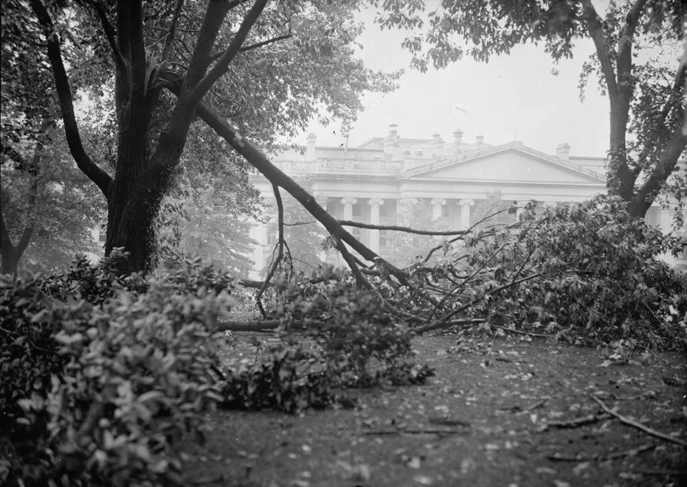 A possible tornado ripped through the White House grounds in November 1927