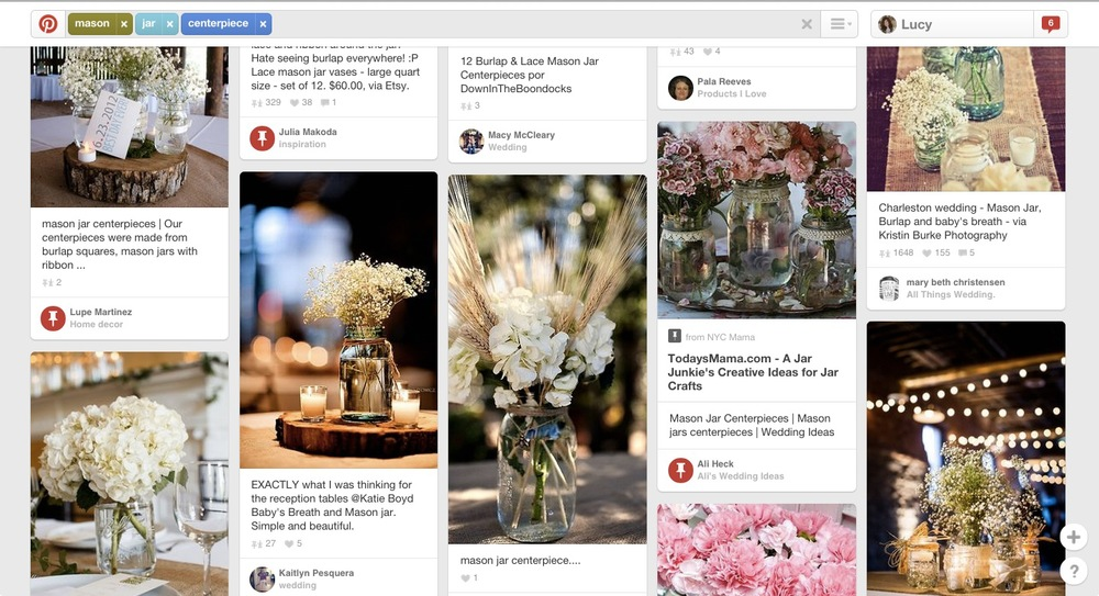 In a quick search of Mason Jar Centrepieces on Pinterest you can see 4 of the results are with Baby's Breath + 3 of the photos have twine tied around the Mason Jar. Clearly a wedding trend that has blown up in popularity and unsurprisingly a trend that has now run its course.