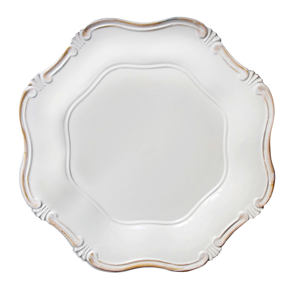 A classic charger plate with a lightly distressed finish, these Baroque chargers add a level of formality to any place setting.