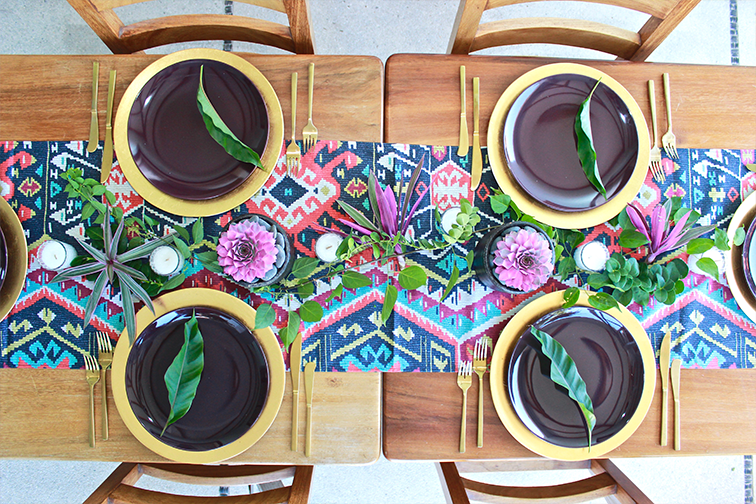 Here we have layered this table with a gold charger a plum dinner plate and added the green leaf as an accent to complete the look. : myer dinner plates - pezcame.com