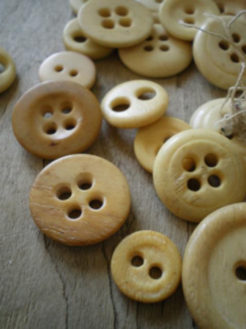 骨質紐扣,可以看上方中間有個像豬鼻子一樣的兩孔紐扣,是很經典的骨紐扣設計(圖片來源)