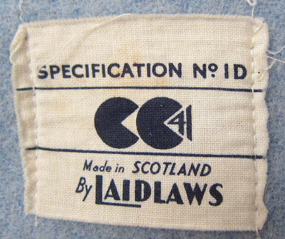證明衣物符合 CC41 二次大戰期間服飾標準的 Utility Label