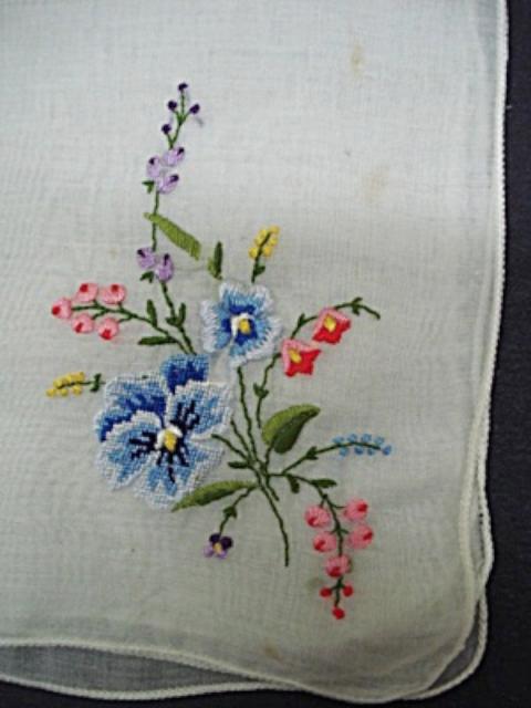 vintage 繡花手帕