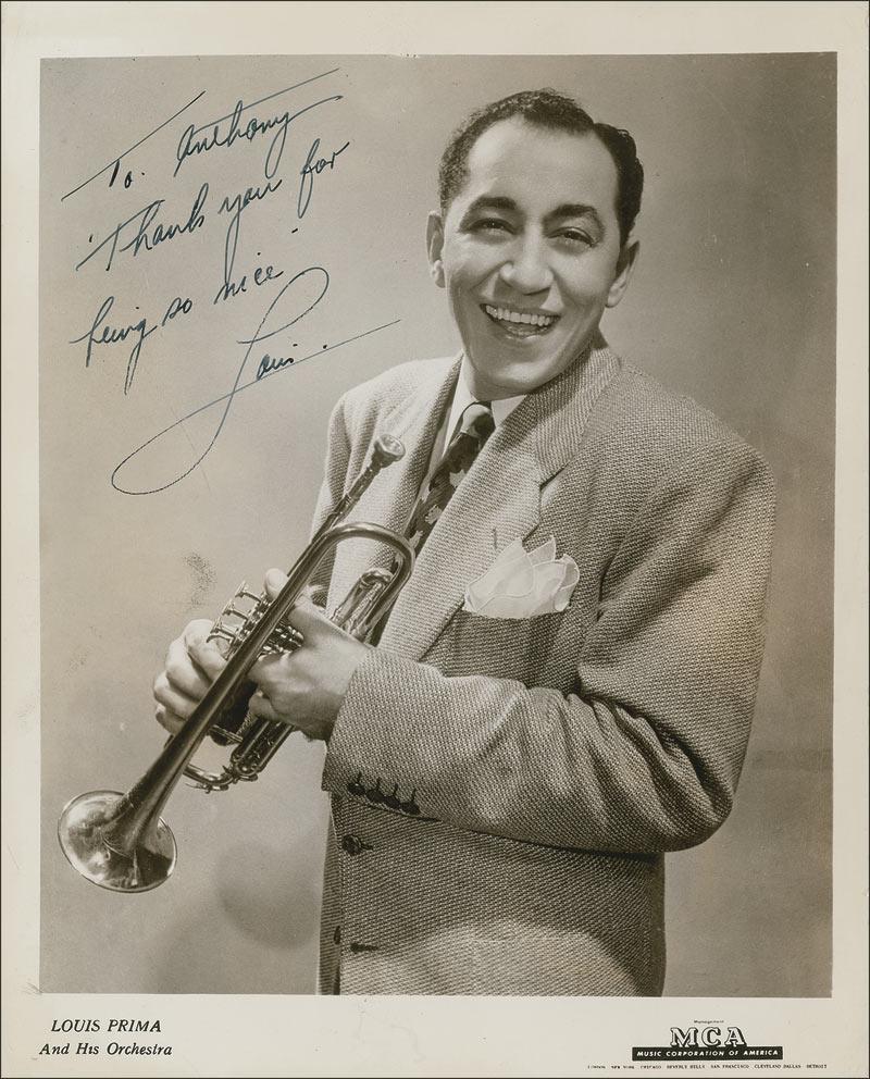 Louis Prima 簽名照,約 50 年代早期(via iCollector)