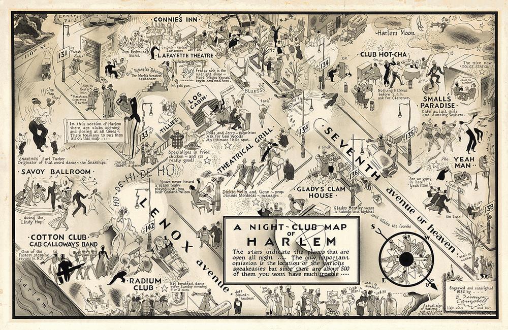 1930 年代哈林區漫畫版地圖(via 耶魯大學 Beinecke Library)