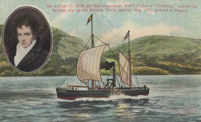 富爾頓與早期蒸氣船,1808(via Wikipedia)