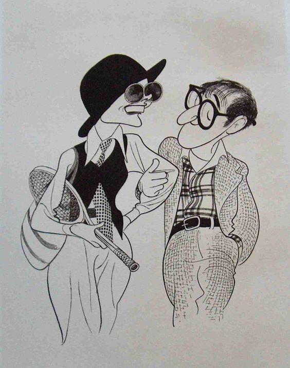 Al Hirschfeld 所繪的漫畫版 Diane Keaton 與 Woody Allen (viaPinterest)