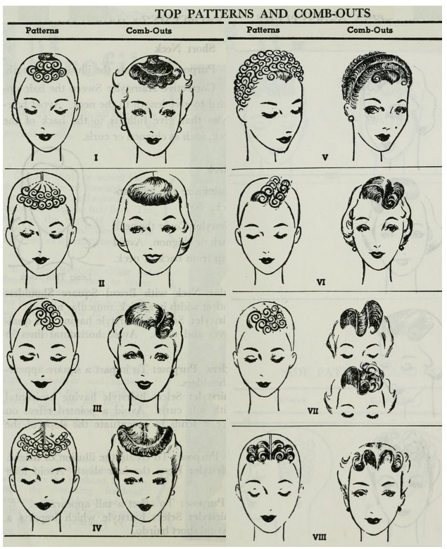 1940 年代 pin curl 造型的範例( via :  She Was a Bird )