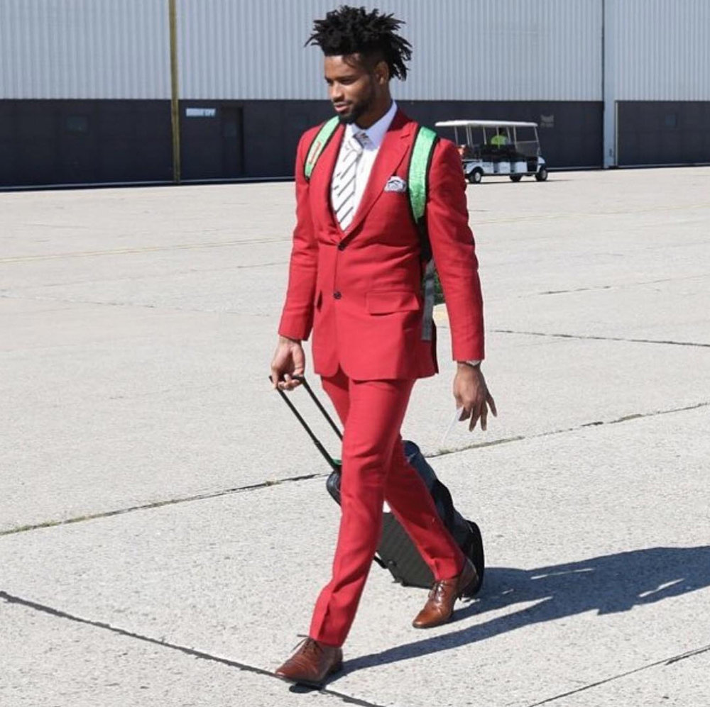 Red represents power and courage. The color red is the basis of the traditional red power tie or red suit in business, and the red carpet for celebrities and VIPs. As seen on Darius Slay  @bigplayslay23  designed by  #jillevans .