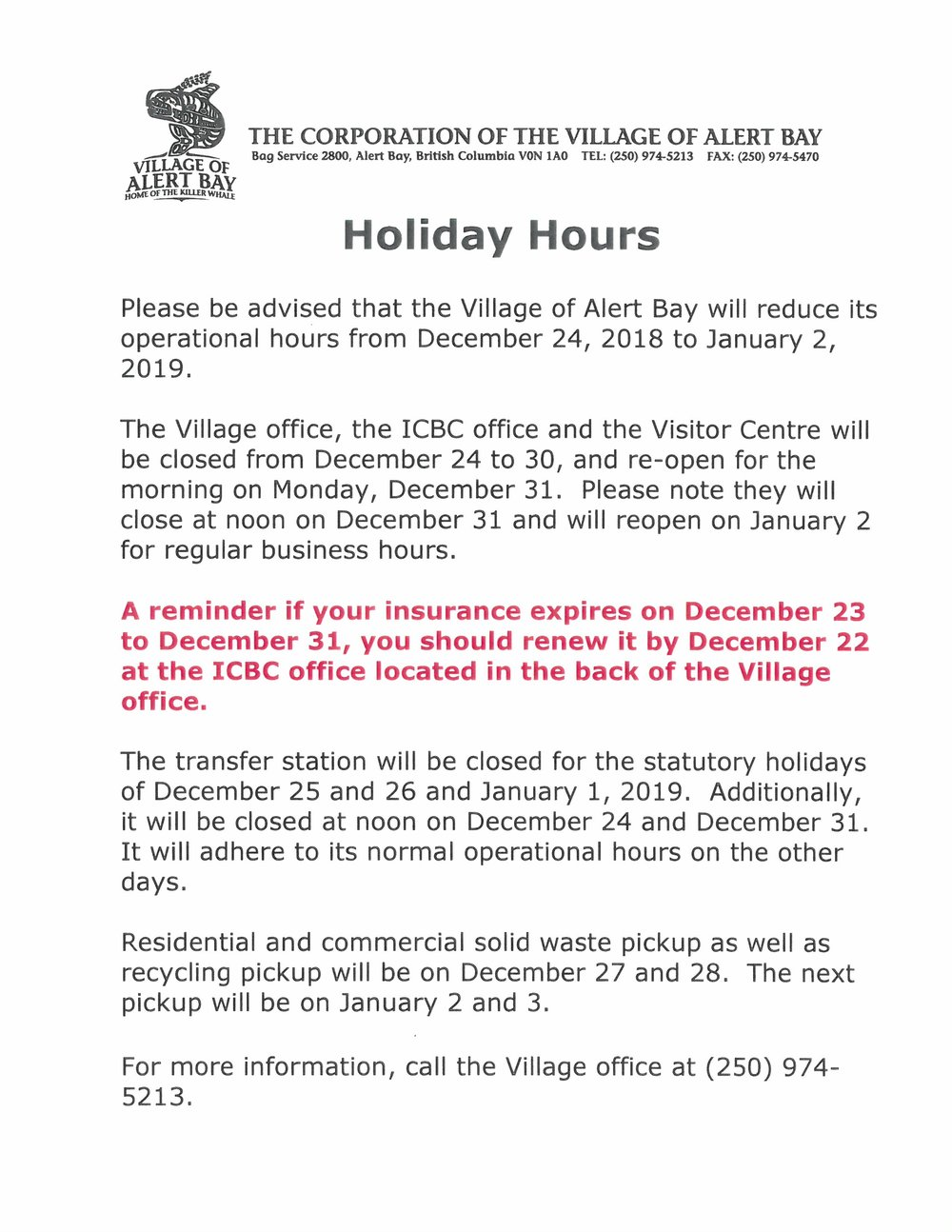2018 VILLAGE OFFICE HOLIDAY HOURS.jpg