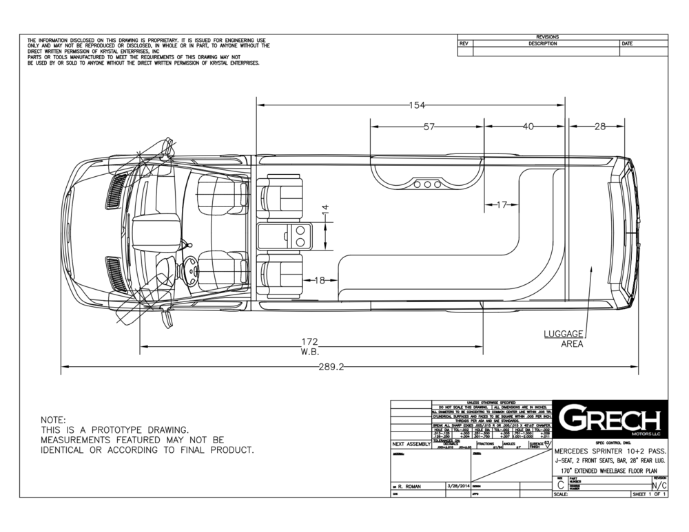 Grech Motors Sprinter Limo floor plan