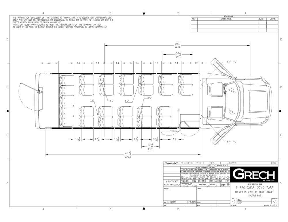 Grech Motors F-550 luxury shuttle bus floor plan