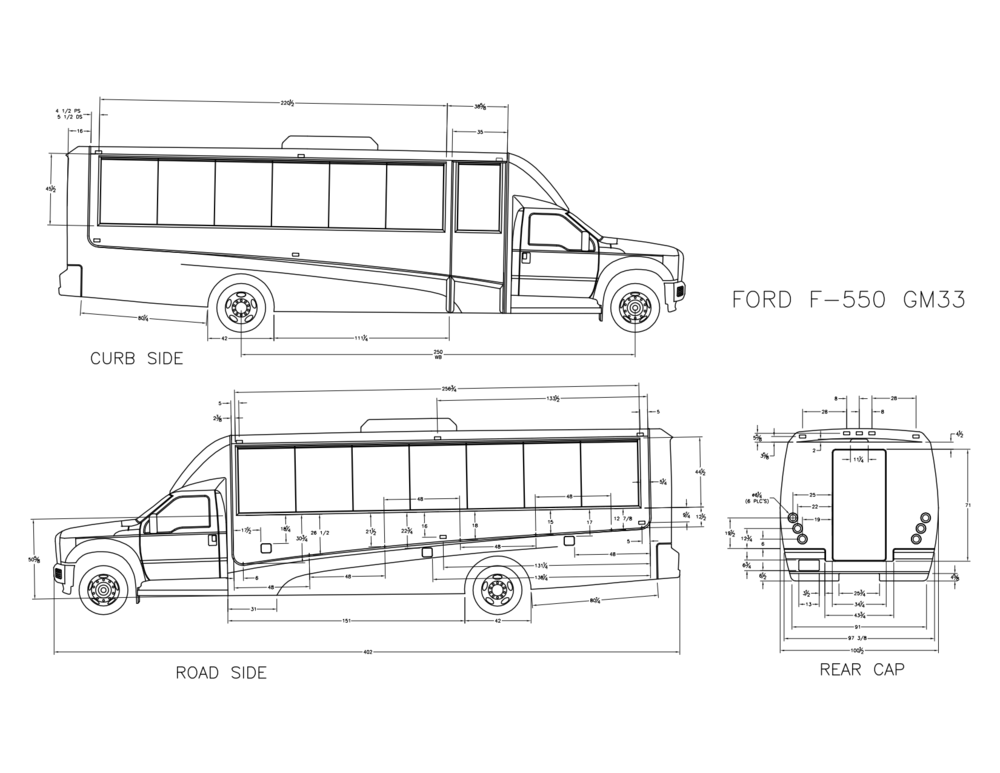 gm33 f550 shuttle bus  white  floor plan