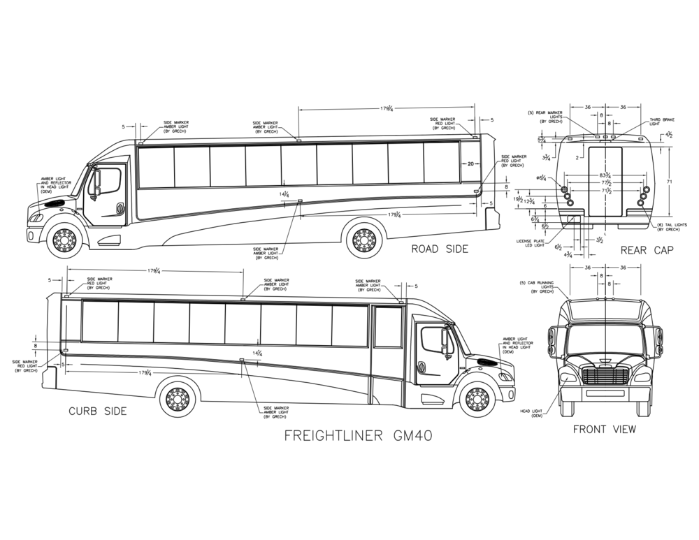 gm40 freightliner shuttle  white  floor plan