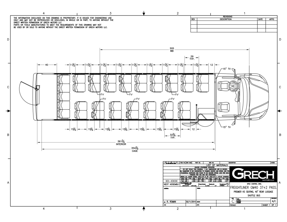 Grech Motors Freightliner Shuttle Bus For Sale GM40 Floor Plan