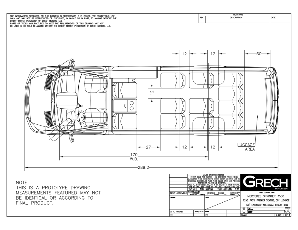 Grech Motors Sprinter Shuttle Floor plan
